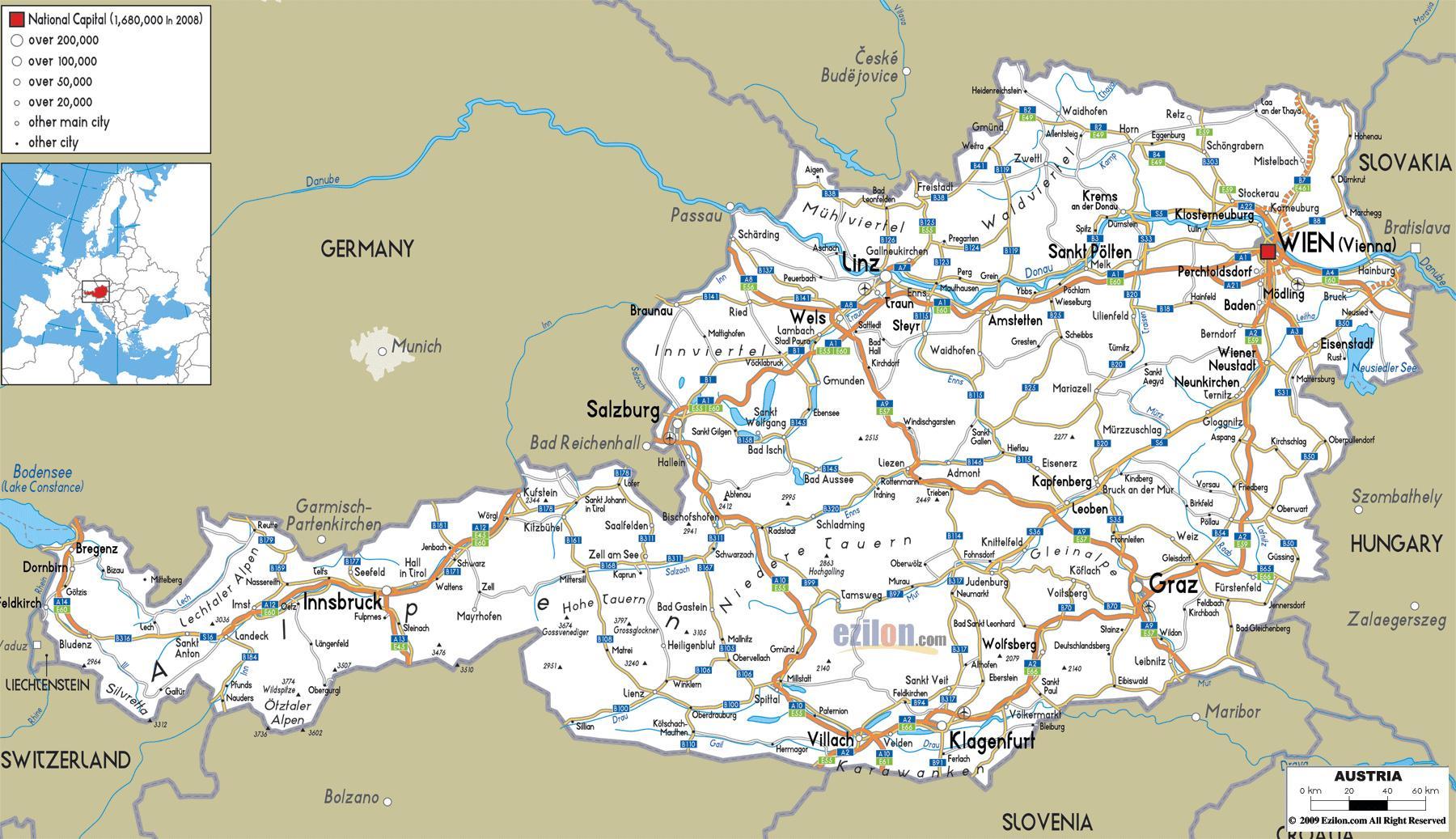 Autriche villes, carte - carte Détaillée de l'autriche ...